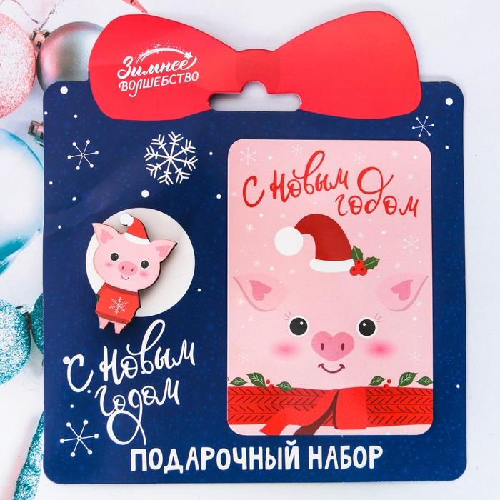 """Набор """"Снежной зимы!"""", значок + календарь"""