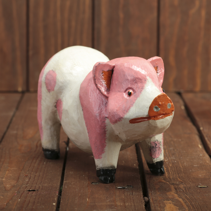 "Сувенир дерево ""Свинка бело-розовая"" 20х6,5х10 см"