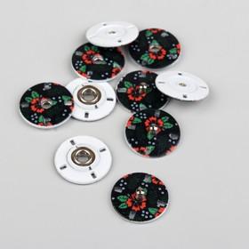"Button sew-on ""Poppies"", d=18mm, 5 PCs, black"