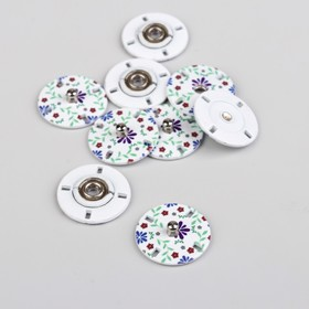 """Button sew-on """"Flowers"""", d=18mm, 5 PCs, white"""