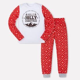 """Комплект: джемпер, брюки KAFTAN """"JOLLY"""", белый, красный, рост 134-140 см (36)"""