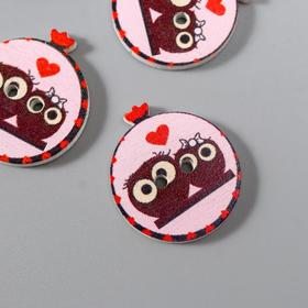 """A set of buttons decorative tree """"Owlets on a branch"""" set of 10 PCs 2,3x1,9 cm"""