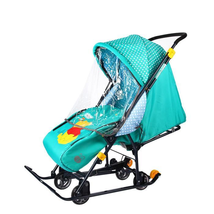 Санки-коляска «Disney-baby 1. Винни», цвет изумрудный