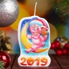 """Свеча-барельеф """"Свинка на луне"""" Символ Года 2019"""