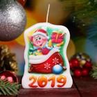 """Свеча-барельеф """"Поросёнок с подарком"""" Символ Года 2019"""