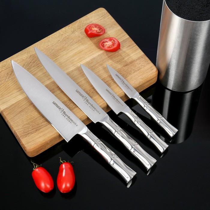 Набор кухонных ножей Samura Bamboo, 4 шт: лезвия 8,8 см, 12,5 см, 20 см, 20 см, на подставке