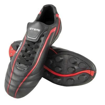 Футбольные бутсы, цвет чёрно-красный, синтетическая кожа, размер 39