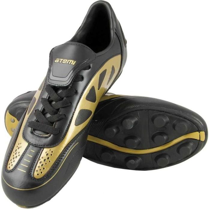 Футбольные бутсы, цвет чёрно-золотой, синтетическая кожа, размер 44