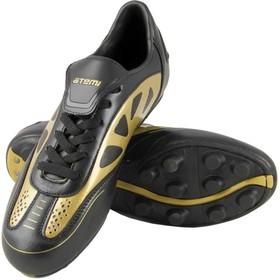 Футбольные бутсы, цвет чёрно-золотой, синтетическая кожа, размер 45