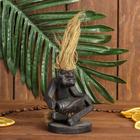 """Сувенир дерево """"Абориген сидит с барабаном"""" 10х6,5х6,5 см"""