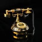 Ретро телефон, круглый, чёрный с золотистыми рисунками, керамика, пластик, 16х26х22 см
