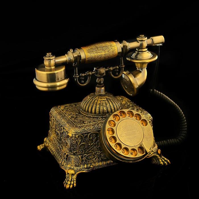 Ретро телефон, объёмный ажурный бронзовый узор, полистоун, 20х26х22 см