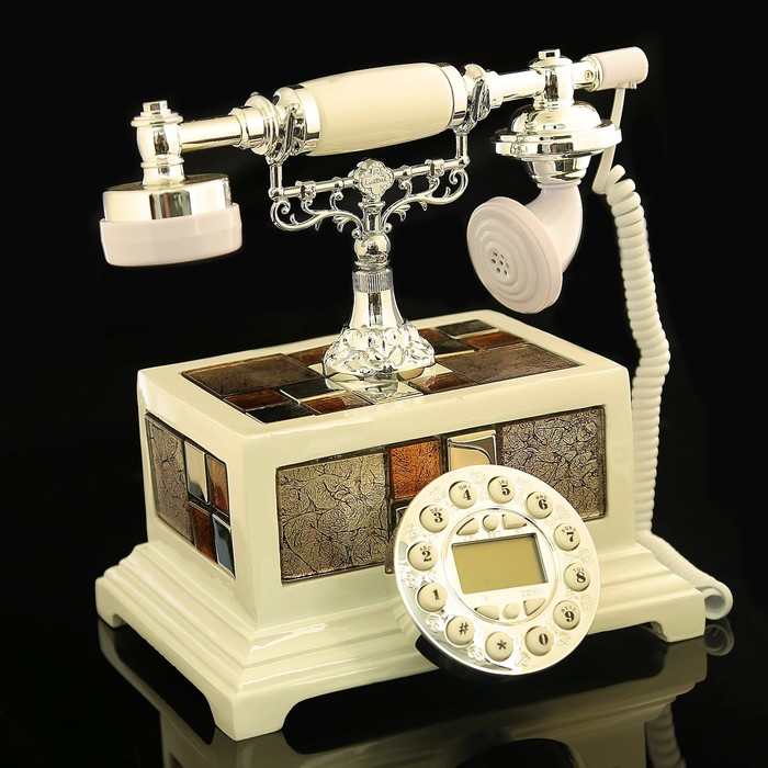 Ретро телефон «Брилиантовая мозаика», прямоугольный, белый, полистоун, 25х17х24 см