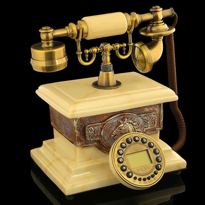 Ретро телефон «Слоновая кость», прямоугольный, полистоун, 17х26х30 см