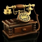 Retro phone Desk with drawer, wood, plastic, 16х25х26 cm