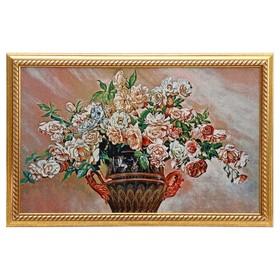"""Гобеленовая картина """"Розы в вазе с ручками""""  55*85 см"""