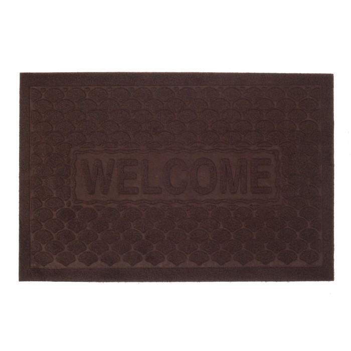 """Коврик придверный """"Рябь Welcome"""" 38×58 см, без окантовки, цвет коричневый"""