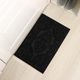Коврик придверный без окантовки «Восточная сказка», 37,3×58 см, цвет чёрный