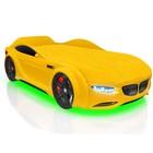 Кровать Romack Junior X5, 1500x700 см, подсветка дна и фар, цвет жёлтый