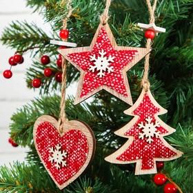 "Pendant Christmas ""Winter evening"", MIX, red"