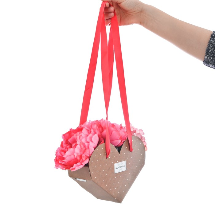 Коробка сердце складная с лентами such a wonderful day, 20 × 16 × 9 см