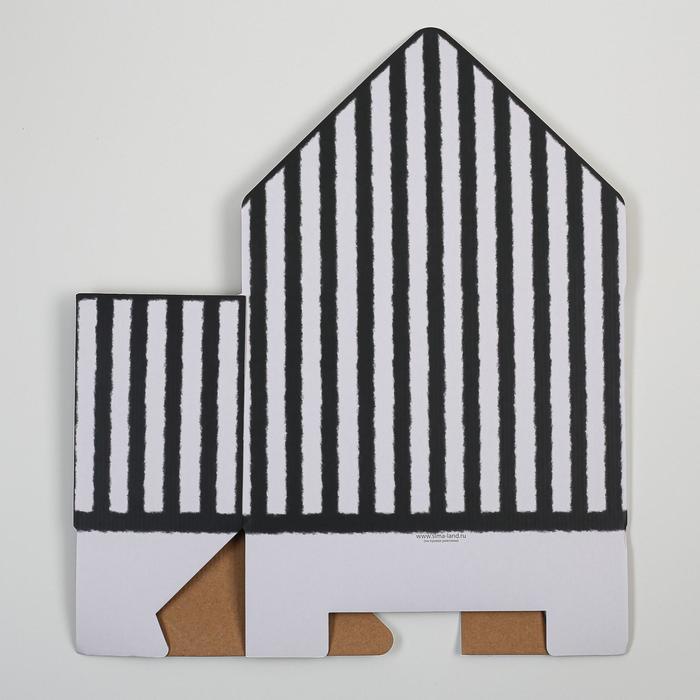 Коробка-письмо «Черно-белая полоска», 25 × 33 × 10 см