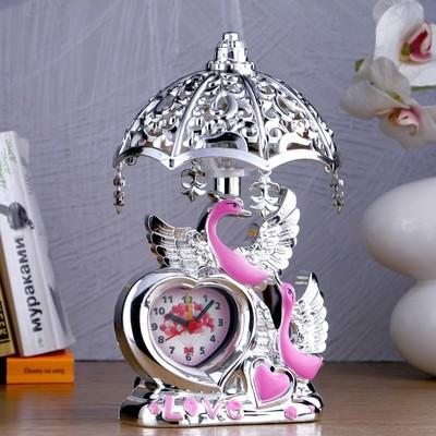 """Часы-светильник """"Лебедь"""", темный хром, 23х13х13 см, микс"""