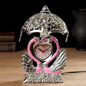 """Часы будильник """"Лебедь"""" с светильником, 13х13х23 см , микс"""