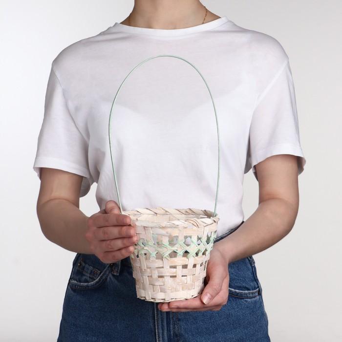 Корзина плетеная, бамбук, 14х14х11/30 см, зеленая