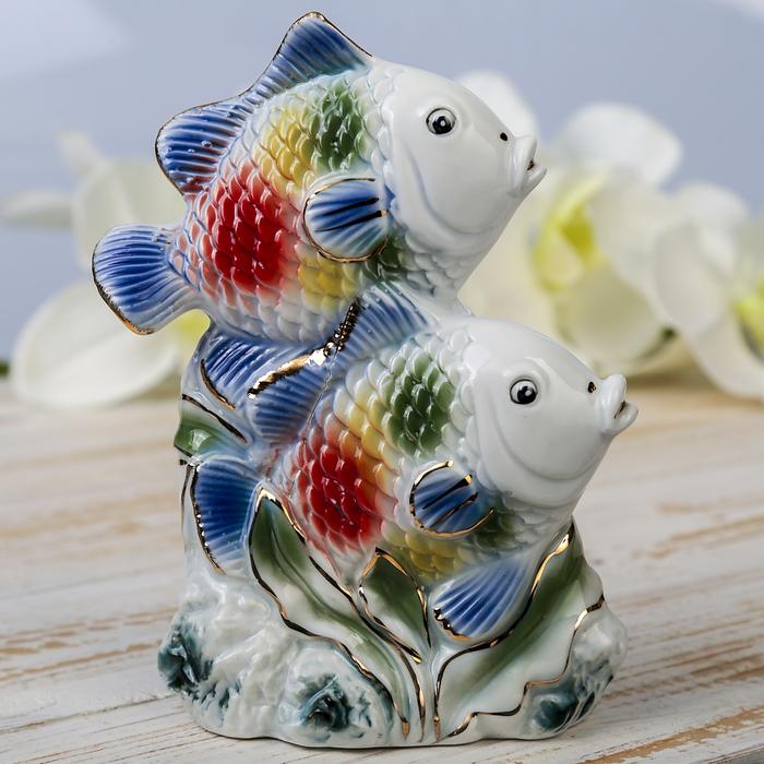 """Сувенир """"Две яркие рыбки в водорослях"""" цветные 14,5х11х5,5 см"""