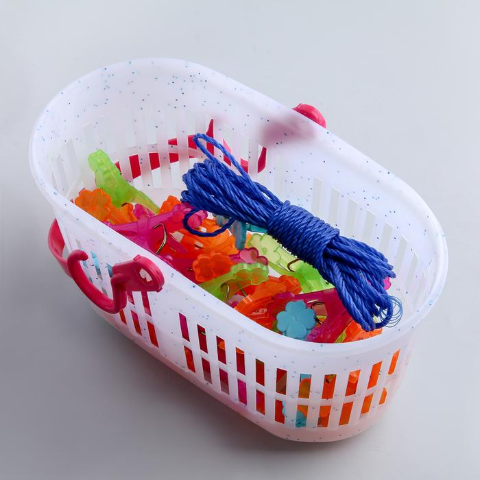 Набор прищепок в корзинке 6 см, 24 шт, верёвка 2,5 м, цвет МИКС