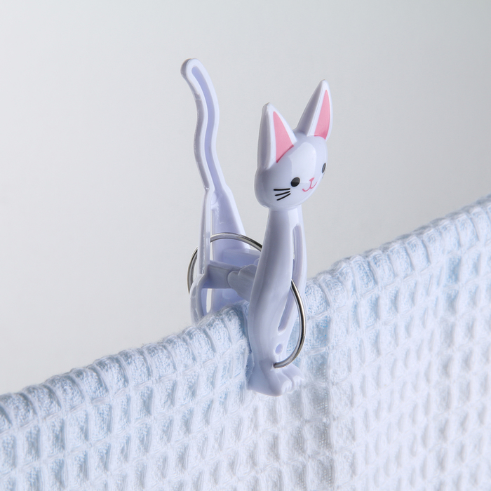 Набор прищепок бельевых «Коты», 7 см, 4 шт, цвет МИКС - фото 4635312