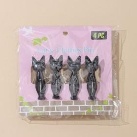 Набор прищепок бельевых «Коты», 7 см, 4 шт, цвет МИКС - фото 4635316