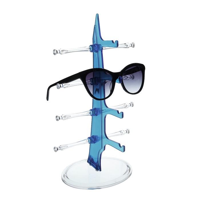 Подставка под очки 4 места, настольная 16*18,3*30, цвет синий
