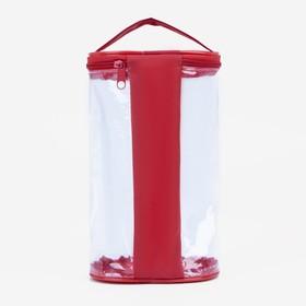 Косметичка ПВХ, отдел на молнии, с ручкой, цвет красный - фото 1770983
