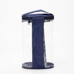 Косметичка ПВХ, отдел на молнии, с ручкой, цвет синий - фото 1770987