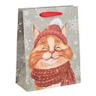 Пакет крафтовый вертикальный «Снежный кот», 23 × 27 × 8 см