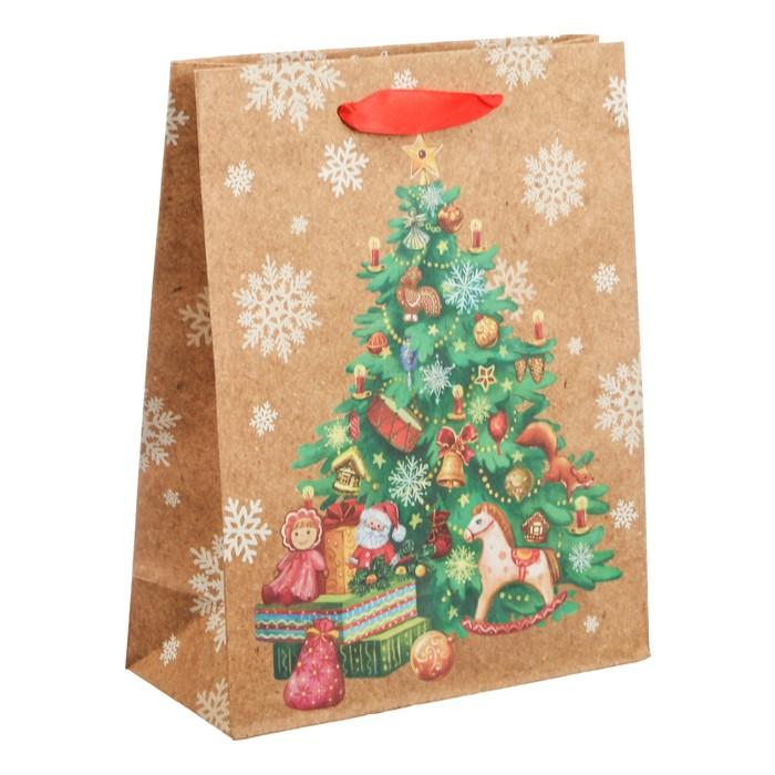 Пакет крафтовый вертикальный «Подарки под ёлкой», 23 × 27 × 8 см