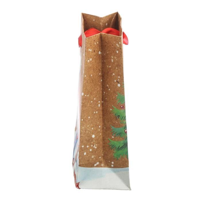 Пакет крафтовый вертикальный «Милые зверята», 12 × 15 × 5,5 см