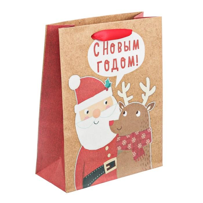 Пакет крафтовый вертикальный «С Новым годом», L 31 × 40 × 9 см