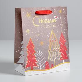 Пакет крафтовый вертикальный «Новогодние ёлки», 18 × 23 × 8 см