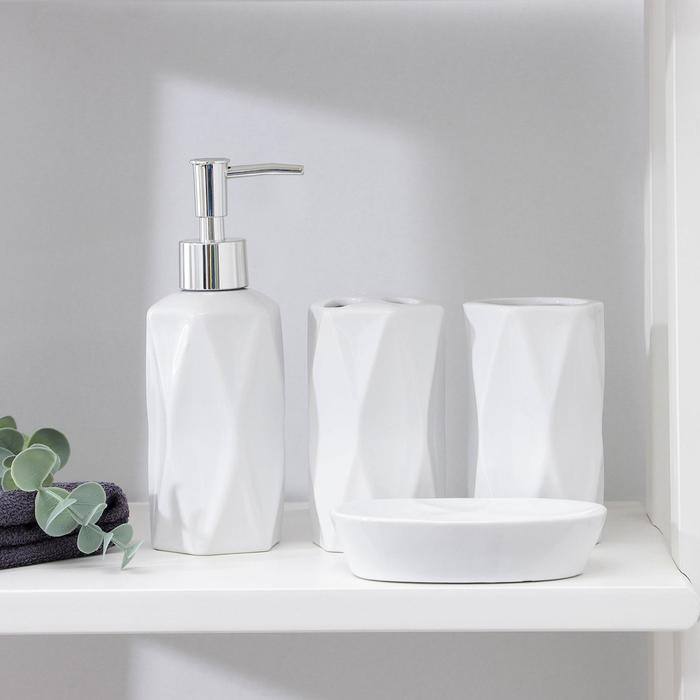 Set of bathroom accessories, 4 piece Geometry, color white