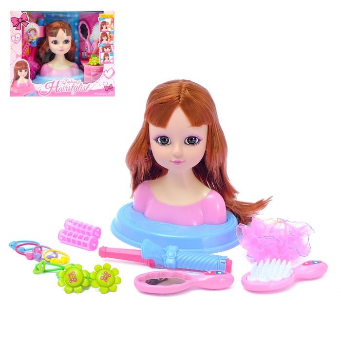 "Кукла-манекен для создания причёсок ""Милый парикмахер"" шатенка, с аксессуарами"