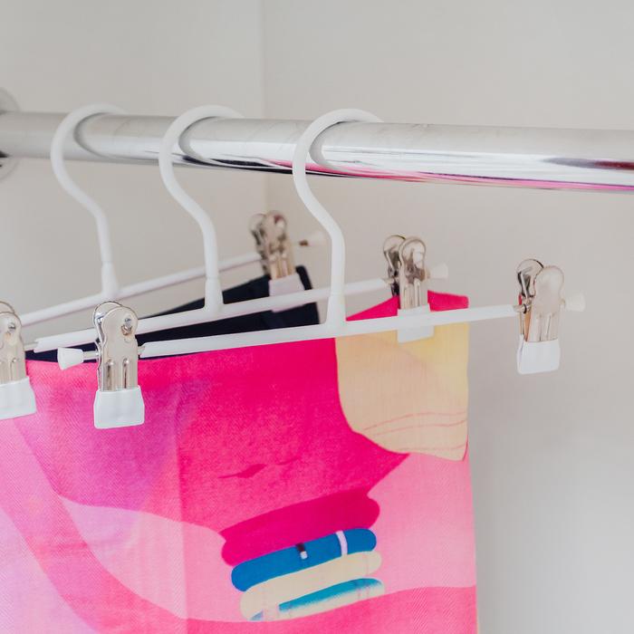 Вешалка для брюк и юбок с зажимами 26×13.5 см, ПВХ покрытие, цвет белый