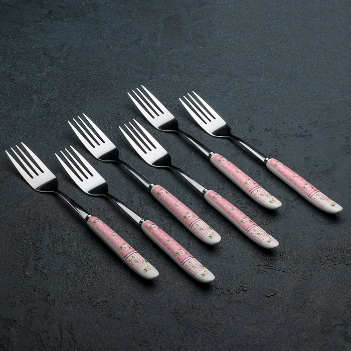 Набор вилок столовых «Уют», h=20 см, 6 шт, цвет розовый - фото 308090529