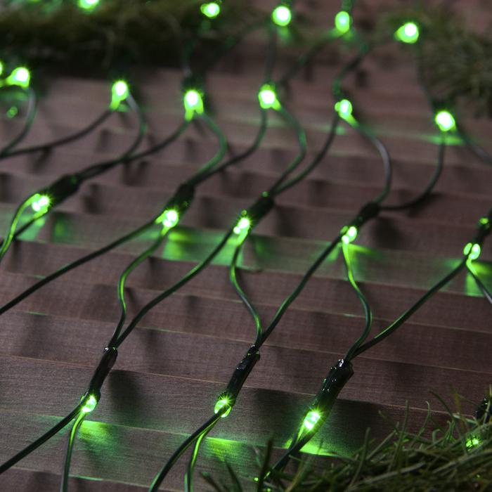 """Гирлянда """"Сеть"""" уличная УМС 2 х 1.5 м, 3W LED-192-220V, нить тёмная, свечение зелёное - фото 685614809"""