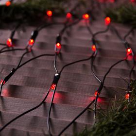 """Гирлянда """"Сеть"""" 2 х 1.5 м , IP44, УМС, тёмная нить, 192 LED, свечение красное, 220 В"""