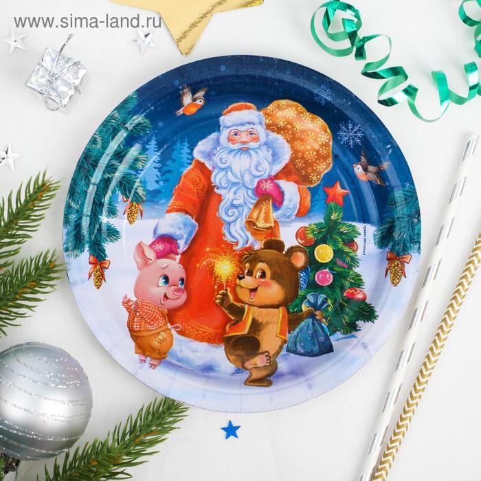 """Тарелка бумажная """"Дед мороз"""", 18 см"""