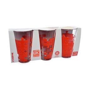 Набор стаканов «Пазл красный», объём 310 мл, 3 шт.