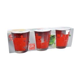 Набор стаканов «Пазл красный», объём 250 мл, 3 шт.